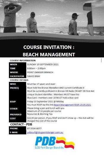 Course Invitation - Beach Management - 19 Sept