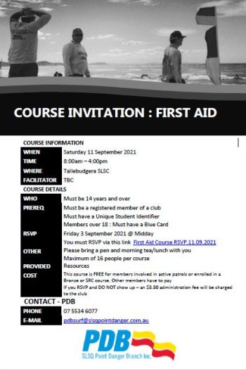 Course Invitation - First Aid - 11 Sept