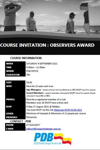 Course Invitation - Observers - 4 Sept
