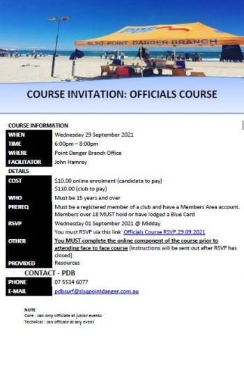 Course Invitation - Officials - 29 Sept
